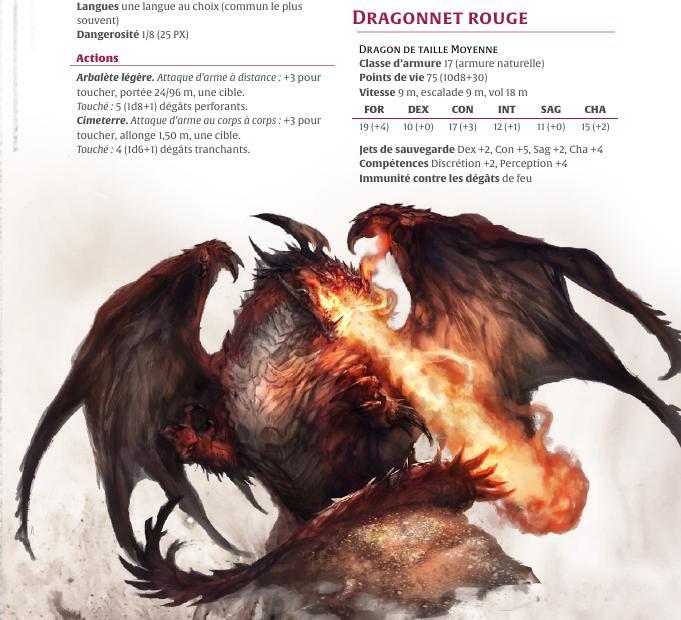Les statistiques et l'illustration d'un Dragonnet Rouge.