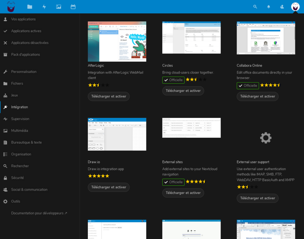 Le catalogue d'applications (plugins) sur NextCloud.